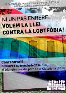 VOLEM LLEI CONTRA LA LGTBfòbia. CONCENTRACIÓ 16 DE MAIG.